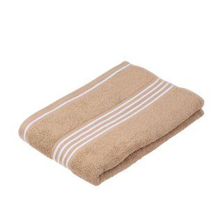"""Gözze Duschtuch """"Rio 2"""" farbiges Tuch nougat mit weißen Streifen"""
